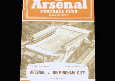 Arsenal v Birmingham 03.03.1956 - FA Cup 6th Round