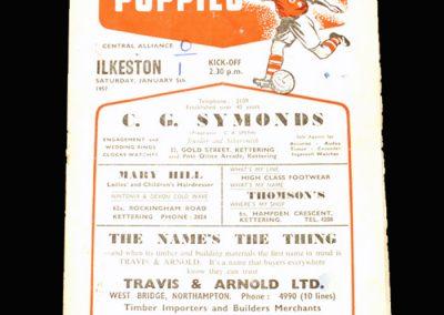 Kettering Reserves v Ilkeston Reserves 05.01.1957