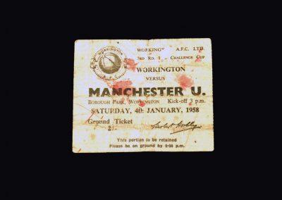 Man Utd v Workington 04.01.1958 - FA Cup 3rd Round (Ticket)