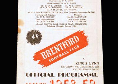 Brentford v Kings Lynn 06.12.1958 - FA Cup 2nd Round
