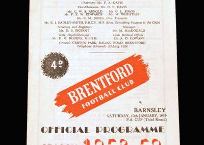 Brentford v Barnsley 10.01.1959 - FA Cup 3rd Round