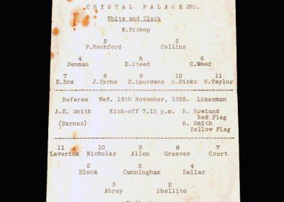 Crystal Palace Juniors v Chelsea Juniors 16.11.1955 - Junior Floodlight Cup