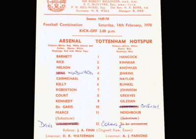 Arsenal Reserves v Spurs Reserves 14.02.1970 (in the reserves with Gilzean)