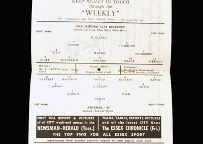 Arsenal A v Chelmsford Reserves 02.11.1963