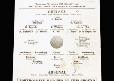 Chelsea v Arsenal 07.01.1962 - South East Counties Cup Semi Final