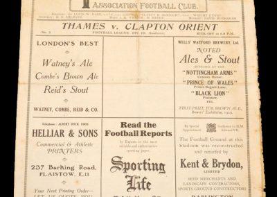 Thames v Clapton 11.09.1930