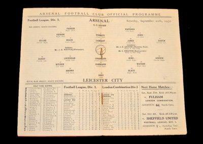 Arsenal v Leicester 20.09.1930