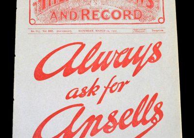 Aston Villa v Arsenal 14.03.1931
