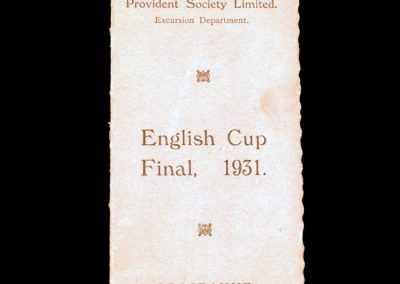 Cup Final Excursion Itinerary 25.04.1931
