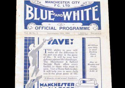 Man City v Arsenal 19.09.1931