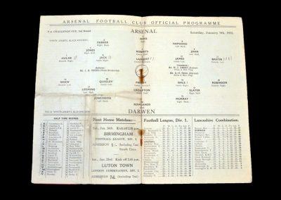 Arsenal v Darwen 09.01.1932 - FA Cup 3rd Round