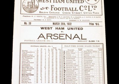 West Ham v Arsenal 26.03.1932