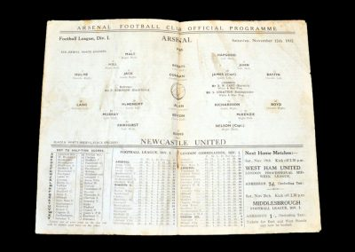 Arsenal v Newcastle 12.11.1932