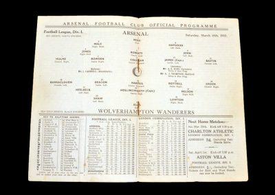 Arsenal v Wolves 18.03.1933