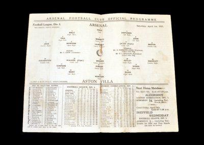 Arsenal v Aston Villa 01.04.1933