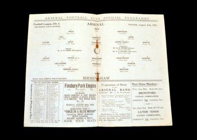 Arsenal v Birmingham 26.08.1933