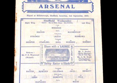 Sheff Wed v Arsenal 02.09.1933