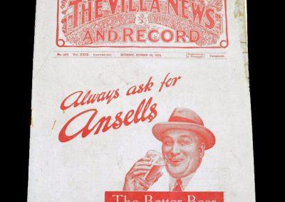 Aston Villa v Arsenal 28.10.1933