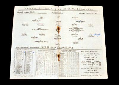 Arsenal v Sheff Wed 06.01.1934