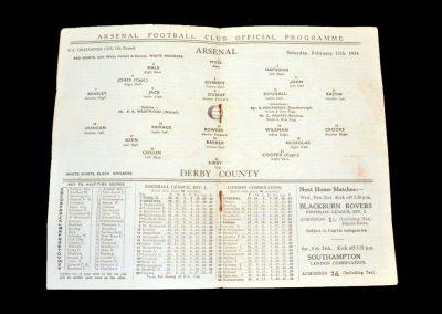 Arsenal v Derby 17.02.1934 - FA Cup 5th Round