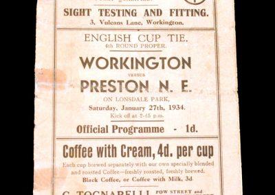 Workington v Preston 27.01.1934 - FA Cup 4th Round