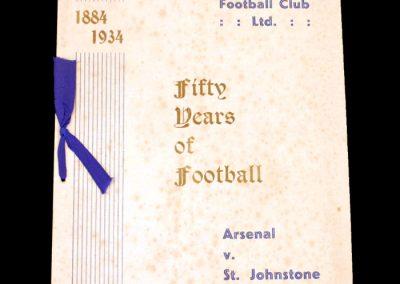 St Johnstone v Arsenal 24.09.1934 - Friendly