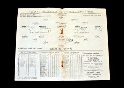 Arsenal v Grimsby 11.09.1935