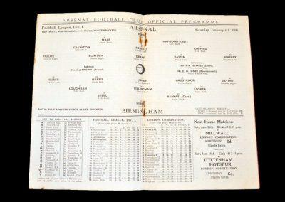 Arsenal v Birmingham 04.01.1936