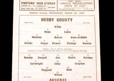 Derby v Arsenal 04.03.1936