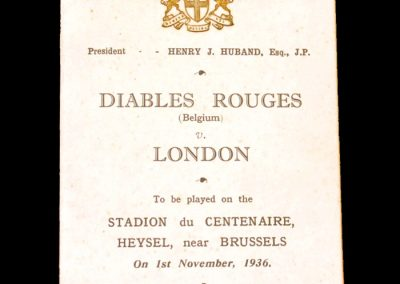 Belgium (Diables Rouges) V London 01.11.1936 (Itinerary)