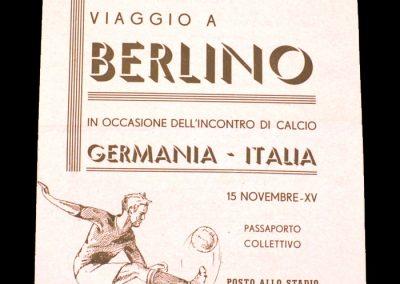 Germany v Italy 15.11.1936 (Itinerary)
