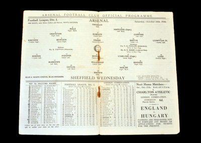 Arsenal v Sheff Wed 10.10.1936