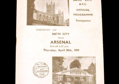Bath City v Arsenal 30.04.1959 - Coronation Cup