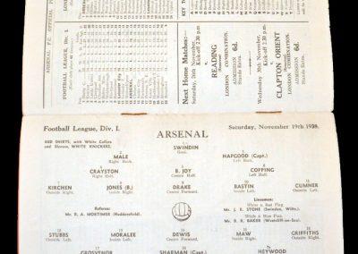 Arsenal v Leicester 19.11.1938