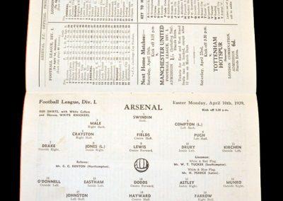 Arsenal v Blackpool 10.04.1939