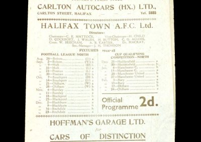 Halifax v Blackpool 18.11.1944 (Matthews listed for Blackpool)
