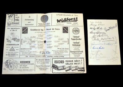 Sweden v RAF 26.05.1946 (with signed menu)