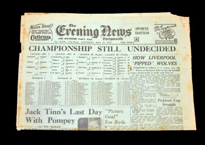 Wolves v Liverpool 31.05.1947 (newspaper report with league table)