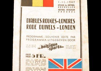 Belgium Red Devils v London 01.11.1947