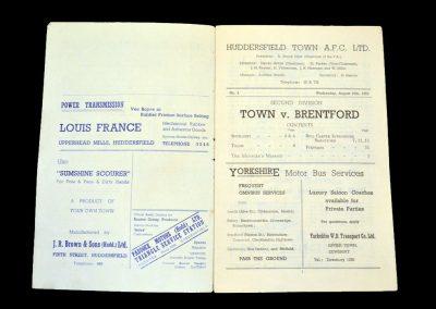 Huddersfield v Brentford 27.08.1952