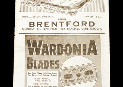 Sheff Utd v Brentford 08.09.1952