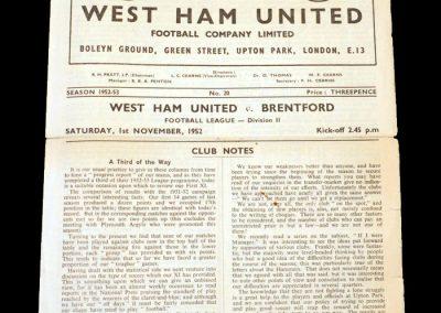 West Ham v Brentford 01.11.1952