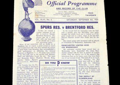Spurs Reserves v Brentford Reserves 04.09.1954