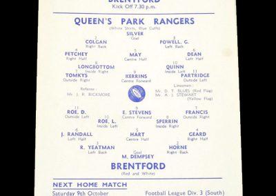 QPR Reserves v Brentford Reserves 06.10.1954