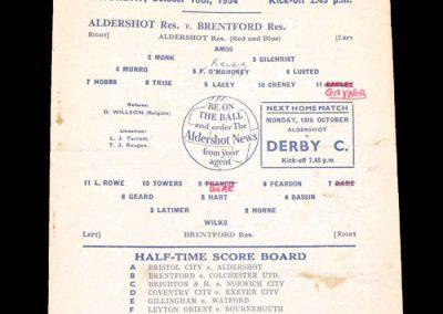 Aldershot Reserves v Brentford Reserves 16.10.1954