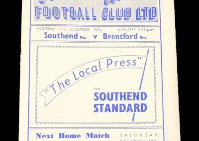 Southend Reserves v Brentford Reserves 11.12.1954