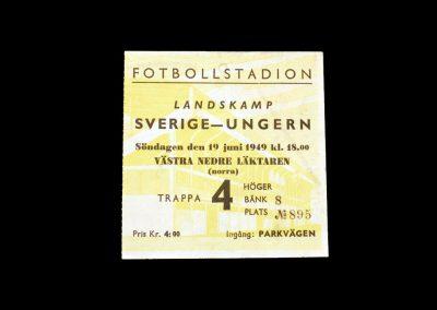 Sweden v Hungary 19.06.1949 (ticket)