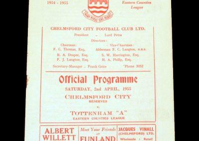Chelmsford Reserves v Spurs A 02.04.1955