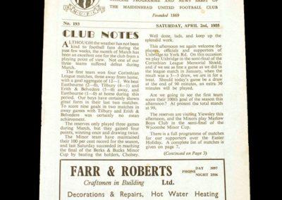 Maidenhead v Uxbridge 02.04.1955