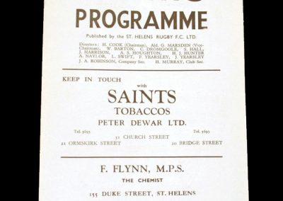 St Hellens v Belle Vue 02.04.1955 (Rugby League - last season for Belle Vue)